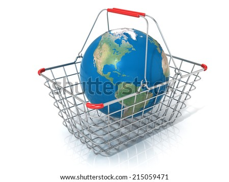 Globe in steel wire shopping basket isolated on a white background. Elements of this image furnished by NASA - stock photo