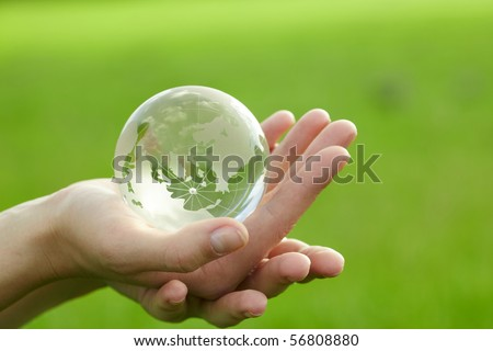Globe in the hand - stock photo