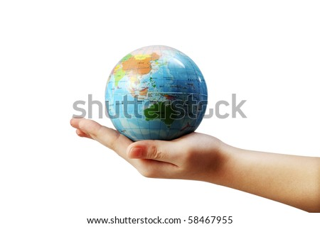 globe in the palm of hands.