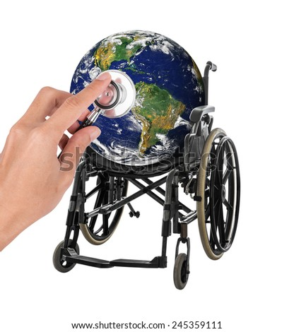 Globe in wheelchair with stethoscope representing the concept of protect and save environment Elements of this image furnished by NASA isolated on white background with clipping path - stock photo