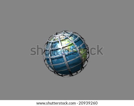 Globe in world wide web isolated on gray