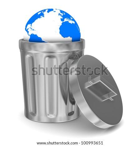 globe into garbage basket on white background. Isolated 3D image - stock photo