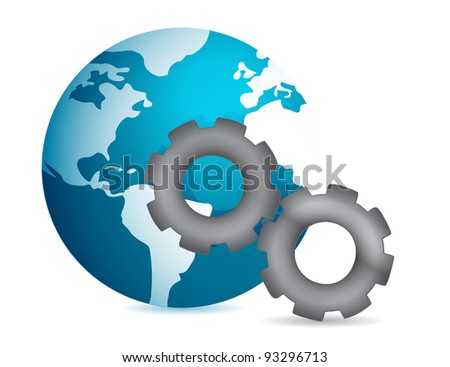 globe into gear illustration design on white background