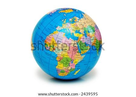 Globe isolated on the white backgroud - stock photo