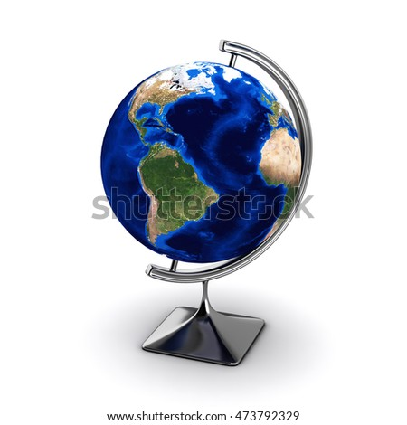 globe isolated on white background 3d