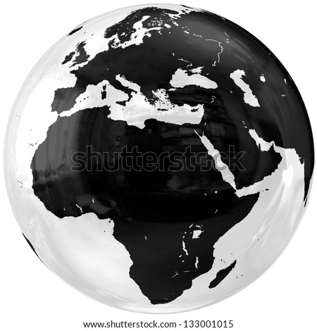 Globe. Isolated on white. 3D - render. Icon. 3d Elements of this image furnished by NASA. - stock photo