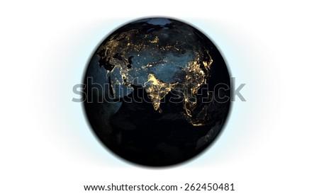 Globe Isolated Render (Map by NASA) - stock photo