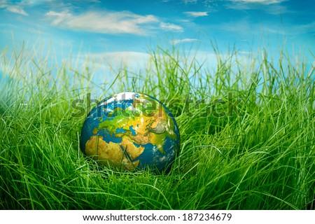 Globe lies on green grass. Concept - Earth Day - stock photo