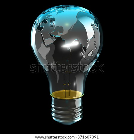 Globe light bulb facing Asia and the Indian ocean - stock photo