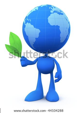 Globe Man (The Peacemaker). Cartoon Man with the Globe instead of a head, holding two fresh green leaves. 3D rendered image - stock photo
