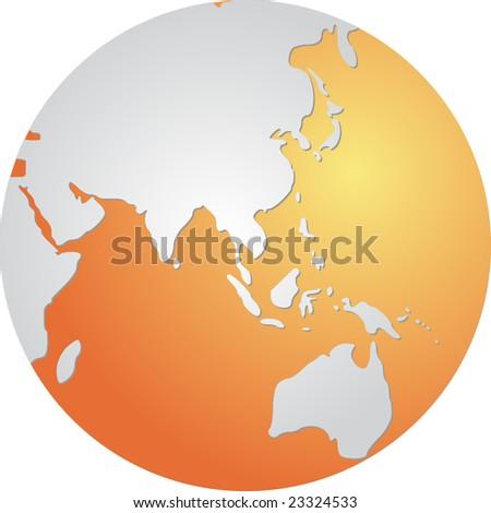 globe map of asia pacific australia
