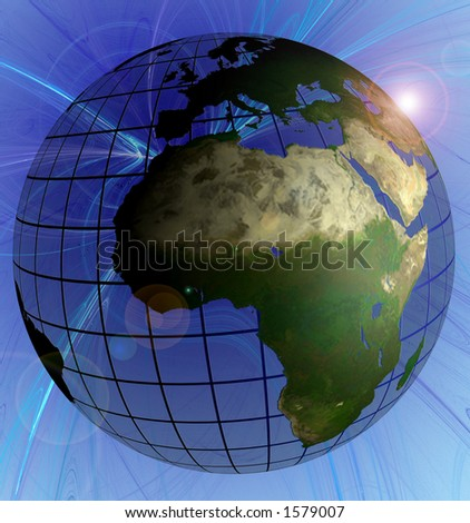 Globe Natural Color Africa Focus on Swirl Background Animated Version in Footage