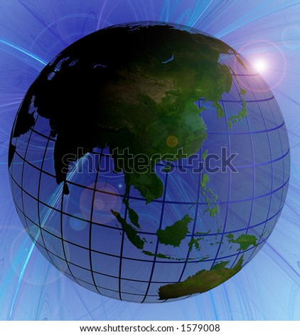Globe Natural Color Asia Focus on Swirl Background Animated Version in Footage
