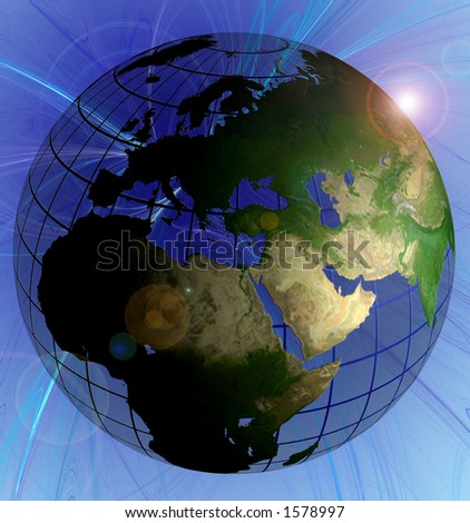 Globe Natural Color Middle East Focus Animated version in Footage