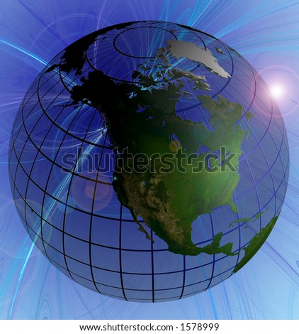 Globe Natural Color North America Focus on Swirl Background Animated version in Footage