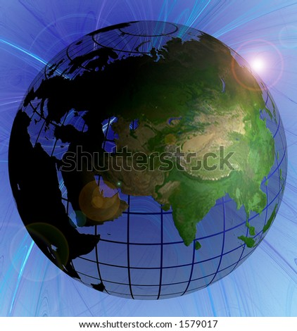 Globe Natural Color North Globe Natural Color India Focus on Swirl Background