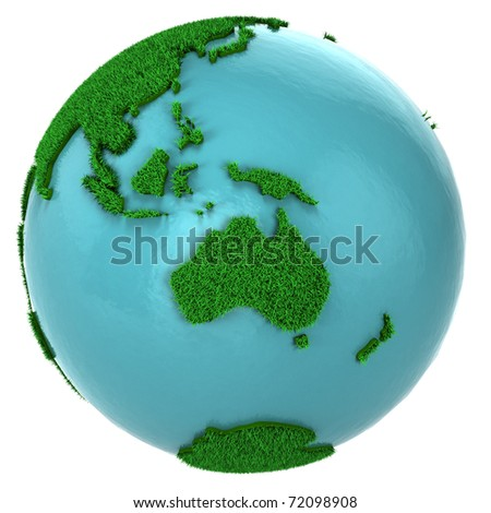 Globe of grass and water, Australia part, isolated on white background