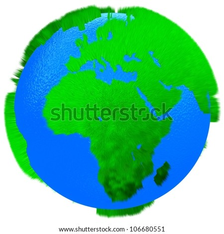 Globe of grass and water isolated on white background