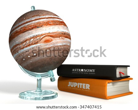 globe of Jupiter on the background of thematic books - stock photo