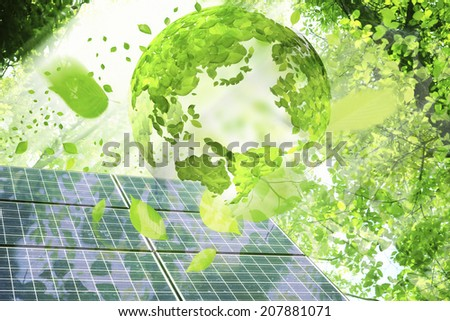 Globe Of Leaf,Fresh Green Leaves And Solar Panel - stock photo