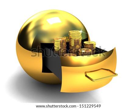 Globe of money gold. Isolated on white. 3D images. - stock photo