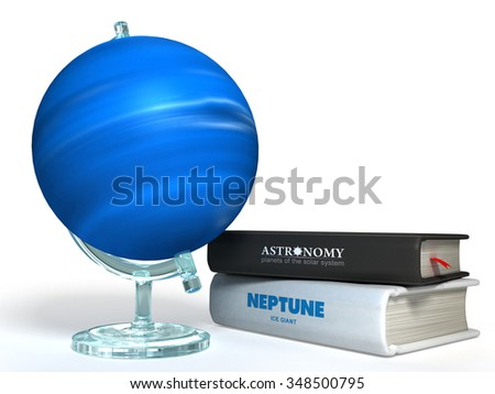 globe of Neptune on the background of thematic books - stock photo