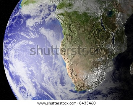 Globe of planet Earth, zoom on south of Africa. CG image with elevation, shadows/highlights and city lights on (see especially the East of South Africa.!!, very unique image.)