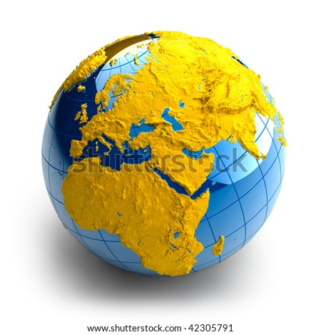 Globe of the Earth with relief continents on white background - stock photo