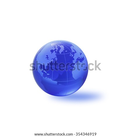 Globe of the World. Atlantic ocean