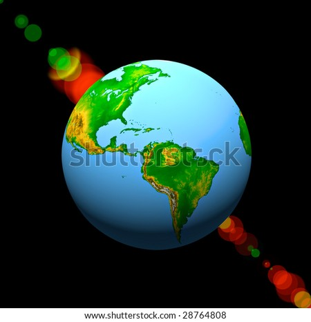 globe on a black background - stock photo
