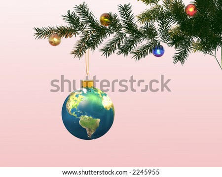 Globe on a christmas-tree. Winter imaginations. Christmas ornaments. 3D. - stock photo