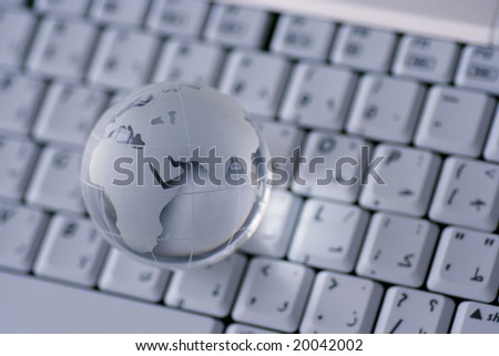 globe on a keyboard, internet concept