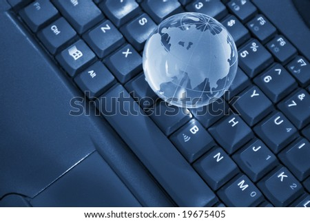 globe on a laptop, internet concept