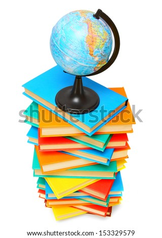 Globe on a pile of multi-coloured books. On a white background. - stock photo