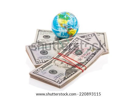 globe on american dollars - stock photo