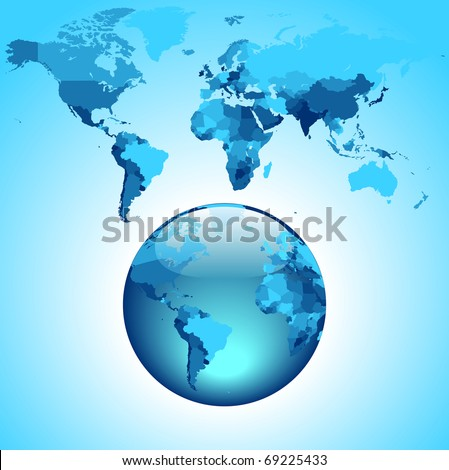 Globe on blue World map. Raster version. Vector version is also available.