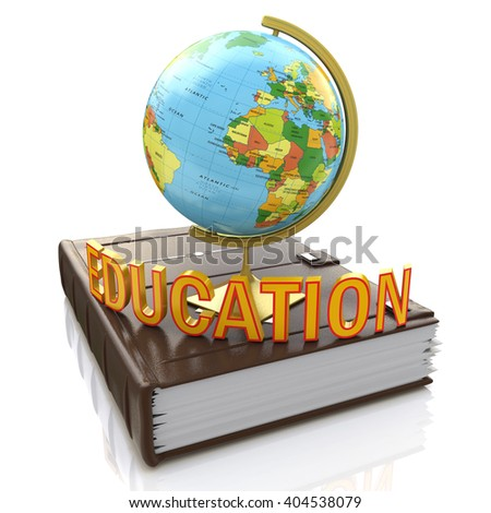 Globe on book isolated over white background.3D Illustration - stock photo