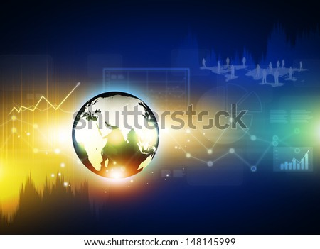 Globe on digital technology background - stock photo