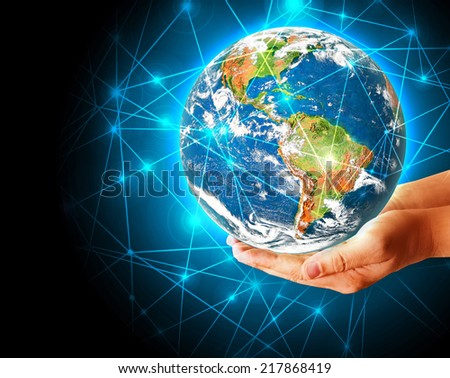 Globe on her hands, South and North America. Elements of this image furnished by NASA  - stock photo