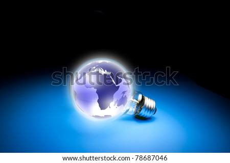 globe on light bulb. Concept for connectivity and internet connection. Data source: NASA - stock photo