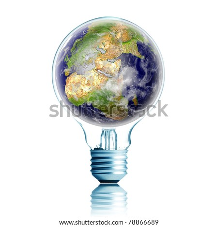 globe on light bulb. Concept for energy conservation and environmental care. Data source: NASA