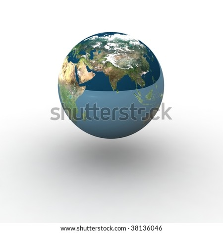 Globe on white background with shadow and reflection