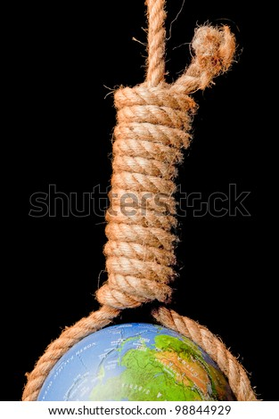 Globe or earth hanging in a noose committing suicide - stock photo