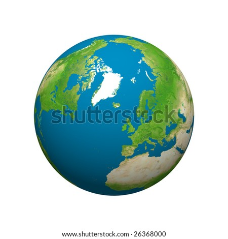 Globe planet earth isolated on white