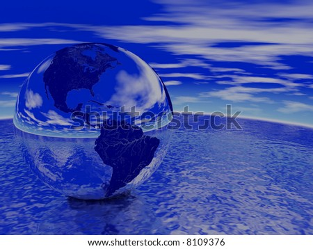 Globe reflecting ocean and sky. Render - stock photo