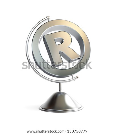 globe registered trademark sign 3d Illustrations on a white background - stock photo