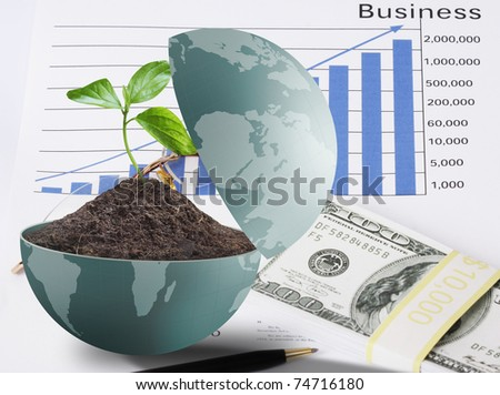Globe's money and busines - stock photo
