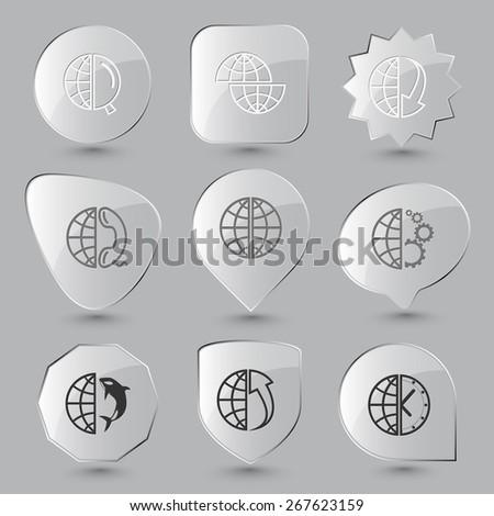 Globe set. Raster glass buttons. - stock photo