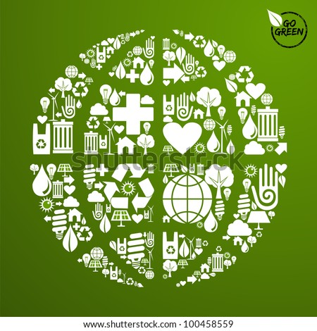 Globe shape in green icons set background. - stock photo