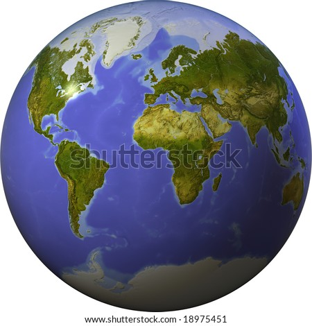 Globe showing the whole world on one side of a sphere. Shaded relief colored according to vegetation.  Isolated on white, with clipping path. - stock photo